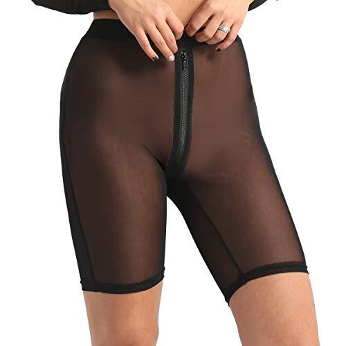 Freebily Damen Hotpants Transparent Unterhose Mesh kurz Hose Shorts Höschen Reizvolle Unterwäsche mit Zip Bikini Cover Up Schwarz Medium
