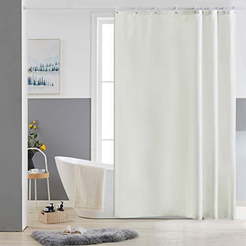 Furlinic Duschvorhang 150x180cm Antischimmel Waschbar Schmal Bad Vorhang Textil aus Polyester Stoff Wasserdischt für Eck Badewanne Beige mit 10 Duschvorhangringen.