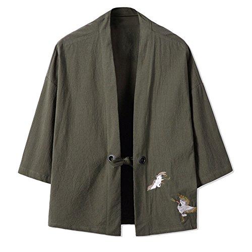 Veste Mince rétro des Hommes Chinois Kimono Japonais Robe Broderie Manteau-Vert