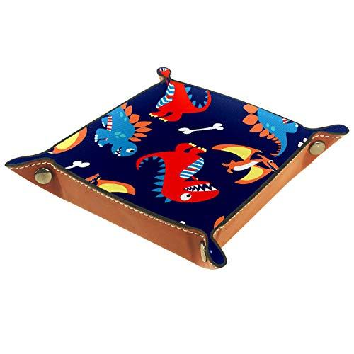 Haminaya Faltbares Tablett aus PU-Leder für Uhren, Schmuck, Aufbewahrungsbox, Dinosaurier, Blau / Marineblau