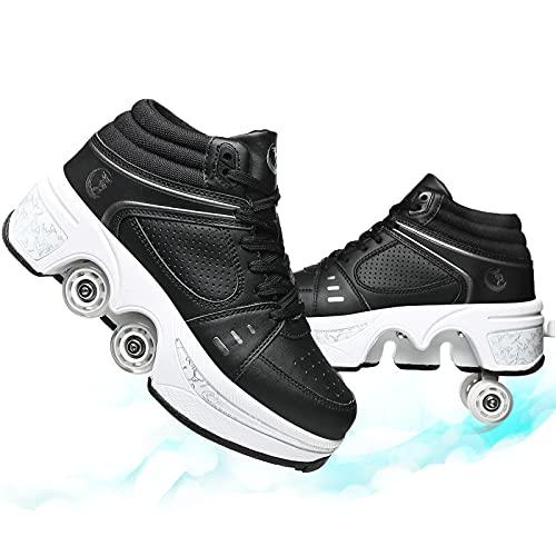 LMHX Patines De Ruedas para Niñas Y Niños Patines En Paralelo Adolescentes Y Adultos Zapatos Patines Ajustables Deformación 4 Rueda