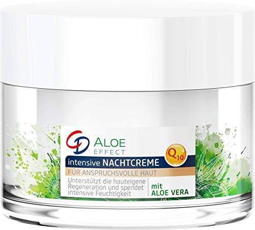 CD Aloe Effect intensive Nachtcreme, Feuchtigkeitscreme, mit Q10 & Aloe vera, reichhaltige Pflege durch Anti-Aging Formel, für alle Hauttypen, vegan, 50 ml