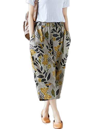 Mallimoda Donna Cropped Pantaloni Vita Alta Cotone Harem Pants Pantalone Stile 1 Fiori 4XL