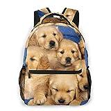 YANGPI Fashion Unisex Backpack Cute Golden Retriever Puppy Bookbag Lightweight Laptop Bag for School Travel Outdoor Camping