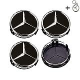 hubcaps Tapacubos Mercedes 75mm Tapas Rueda Central,1 Llavero de Regalo Incluido,para Llantas de aleacion Clase E Clase C CL CLS SLK ML GLK Clase A Clase B Amg