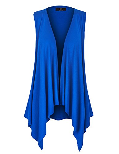 WSK1071 Womens Lightweight Sleeveless Draped Open Cardigan XL Royal_Brite