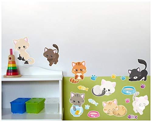 Samunshi® Lot de 19 Stickers muraux pour Chambre d'enfant Motif Chats, Multicolore, 2X 16x26cm