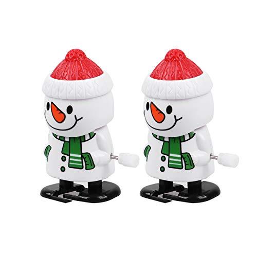 Amosfun 2 Piezas Navidad Juguetes De Cuerda De Muñeco de Nieve Caminar Sacudiendo Cabeza Juguetes Mecánicos Wind Up Toys Adorno Figura para Decoración Interior del Coche