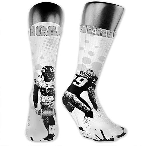 DHNKW Socks Compression Medium Calf Crew Sock,Grungy American Football Image International Team World Cup Kick Off Play Speed Victory