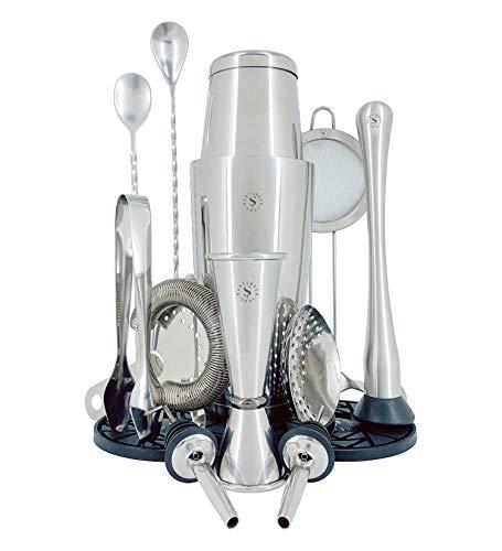 Boston Professionelles Cocktail-Set – 530-830 ml, 0,8 mm und doppelter Flair – Siebe, Jigger Becher, Cocktaillöffel, Mörser und Ausgießer – Design aus Edelstahl