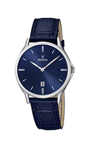 Festina Herren Analog Quarz Uhr mit Leder Armband F16745/3