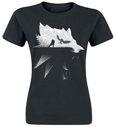 The Witcher Wolf Silhouette Frauen T-Shirt schwarz M 100% Baumwolle Fan-Merch, Gaming, TV-Serien