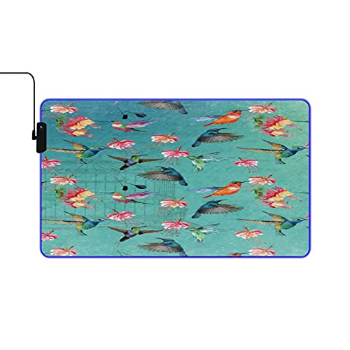 VINISATH Table Mat,Birds,Flowers and Bird Cage,LED Large RGB Waterproof Gaming Mouse Pad Non-Slip Base Luminous Protector Table Mat for Gaming, PC, Laptop, Office,Home 23.6x13.8 Inches