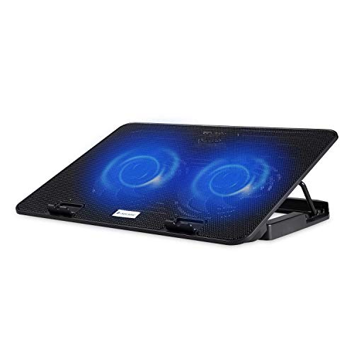 Lapcare Ergonomic Laptop Cooler Cooling Pad and Stand High Power Double Colling Fan, 2 Port USB with Blue LED (Black)