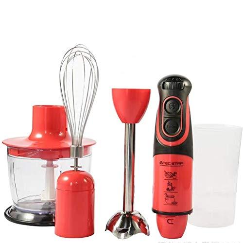 Roestvrijstalen staafmixer (800 Watt, blender, bijl, whisk & food processor, incl. 4-delige accessoire) Staafmixer Set, staafmixer, blender handmixer Red