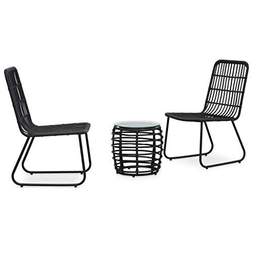 Goliraya 3 Piece Bistro Set Bar Set Outdoor Dining Table and Chair Vintage Poly Rattan Black