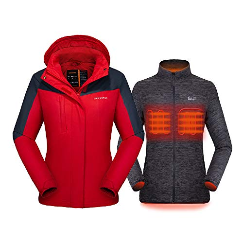 Venustas [2019 New] Women's 3-in-1 Heated Jacket with Battery Pack, Ski Jacket Winter Jacket with Removable Hood Waterproof Red