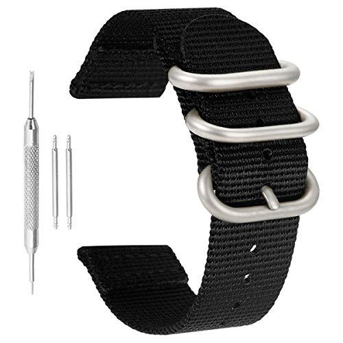 20 mm de la NATO Correas de Reloj de Estilo de perlón de Nylon Negro de Lujo de los Hombres exquisitos Correas de reemplazo