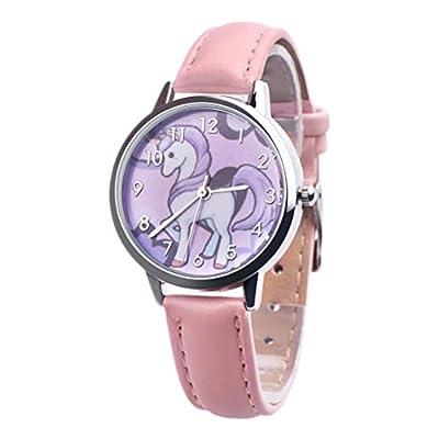 Unicornio Relojes Niños Reloj Chica Reloj Niños Pulsera Reloj Horse Pony Animal Alloy Pulsera Chica Reloj (Pink)