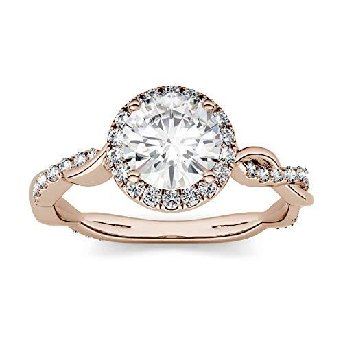 Charles & Colvard Forever One anillo de compromiso - Oro rosa 14K - Moissanita de 6.5 mm de talla redonda, 1.32 ct. DEW, talla 9,5