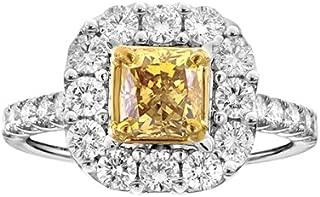 Unique Royal Jewelry 18k White Gold GIA Yellow Radiant Cut Diamond .97 VS1 HPHT Ring