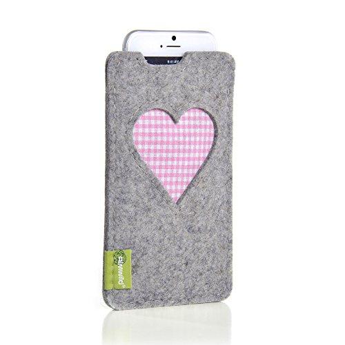 Almwild® Hülle, Tasche für Apple iPhone 8,7,6 MIT Apple Leder Case/Silikon Case aus Filz. In Alpstein- Grau mit Herz. Handyhülle Handytasche Gschbusi in Bayern handgefertigt.