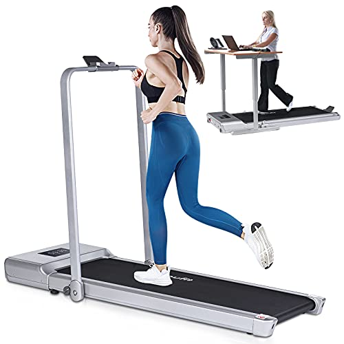 Folding Under Desk Treadmill for Home Use, Doufit TD-01 2 in 1 Portable Electric Workout Slim Compact Walking Jogging Machine for Small Spaces