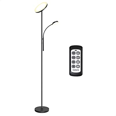 Tomons Lampadaire sur Pied Salon, Lampadaire LED Dimmable en Continu, Lampadaire Télécommande avec Lampe de Lecture Réglable, 3 Températures de Couleur, Lampe sur Pied pour Salon, Chambre, Bureau, 30W