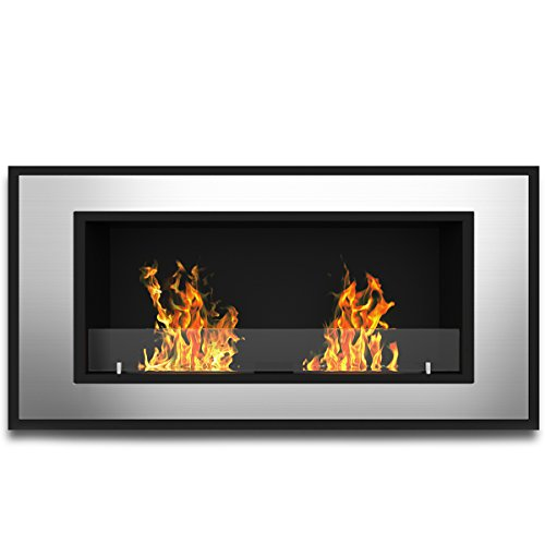 """Regal Flame Indoor Brooks 47"""" Ventless Built in Recessed Bio Ethanol Wall Mounted Fireplace"""