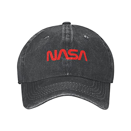 NASA Trucker Hat for Men and Women, Sun-Proof Baseball Jean Caps, Brass Buckle Cap Golf Hats, Cotton Sports Hat for Running Hiking Cycling