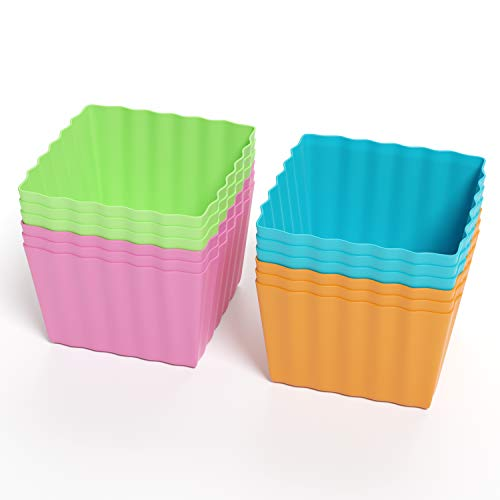 Bakerpan Silicone Mini Cake Holders, Baking Cups, 1.5 Inch Squares, 12 Pack
