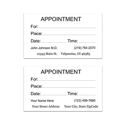 Personalized Appointment Cards - Premium Heavy 16PT White Card Stock - 500 Appointment Reminder Cards - Simply input your information - 100% Made in the U.S.A.