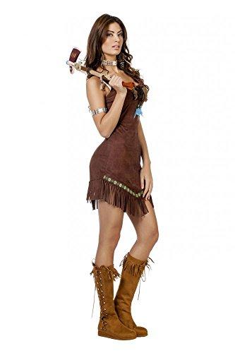 shoperama karnevalstore24–para Disfraz de Mujer en imitación Ante con Perlas y Plumas Adultos de Indio