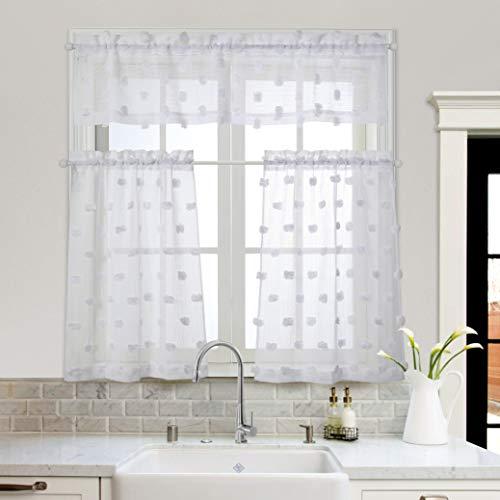 MYSKY HOME Pom Pom Kitchen Curtains 36 inch Length 3 Pieces Jacquard Rod Pocket Sheer Tier and Valance Curtain Sets(Pompom-White)