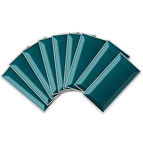 ENCOFT 27 Piezas Adhesivo para Azulejos Rectangular en PVC Efecto 3D Pegatinas de Baldosas Azulejos Autoadhesivo Impermeable para Cocina Baño Color Sólido Verde 20x10cm
