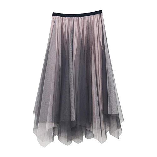 VJGOAL Moda Casual de Mujer Color sólido Tulle Vintage Falda Plisada de Malla Costura de una línea de Midi Tutu Falda(Una Talla,Gris)