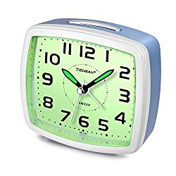Silent Non Ticking Analog Alarm Clock with Nightlight Snooze Travel Alarm Clock Silent Sweep Second Hand, Lightweight Analog Quartz Clocks for Bedrooms (Light Blue)