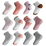 Licitn 12 Pares de Calcetines Antideslizantes para Niñas - Calcetines de Algodón de Bebés con Diseño de Patrón Animal tridimensional para Niñas (1-3 años)