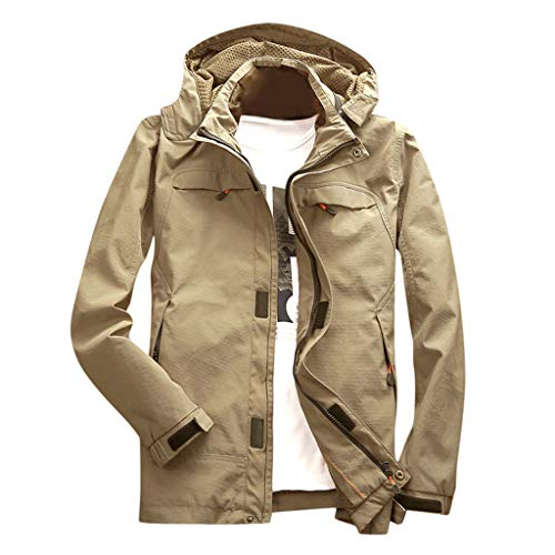 Uqiangy Men's Classic Lightweight Hooded Zipper up Slim Fit Solid Windbreaker Travel Jacket(Khaki,XL)
