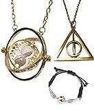 Aofocy Harry Potter Tourneur de Temps Magicien Rotatif Magicien Collier Sable Pendentif avec Sablier...