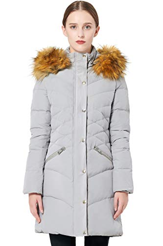 Orolay Women's Light Winter Down Coat Diamond Quilted Puffer Jacket with Fur Hood Grey XL