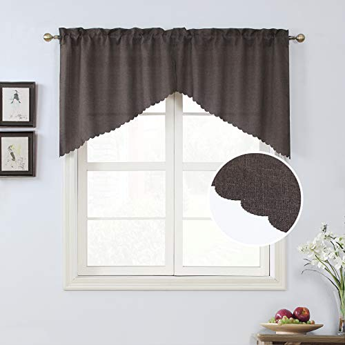 Rama Rose Rod Pocket Burlap Kitchen Tier Curtains - Tailored Scalloped Valance/Swags for Living Room ( 2 Pack, 72 Inches Wide Combined, 36 Inches Long, Brown)