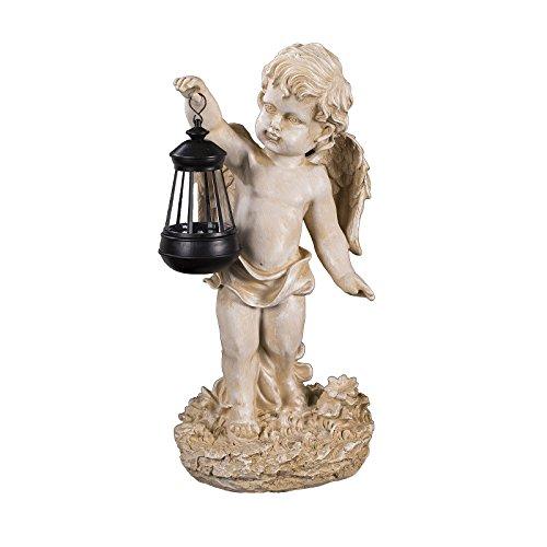 Engel NF86335 C, Groß 42 cm hoch, Gartenengel, Deko Engel mit LED Solar Lampe, Antik Weiß, Dekorationsfigur Gartendekoration, Gartenfigur, Engelsfigur, Schutzengel, Skulptur, Windlicht,
