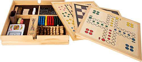 Small Foot 11753 Spielesammlung, mit 20 klassischen Gesellschaftsspielen in massiver Holzkiste, ab sechs Jahren