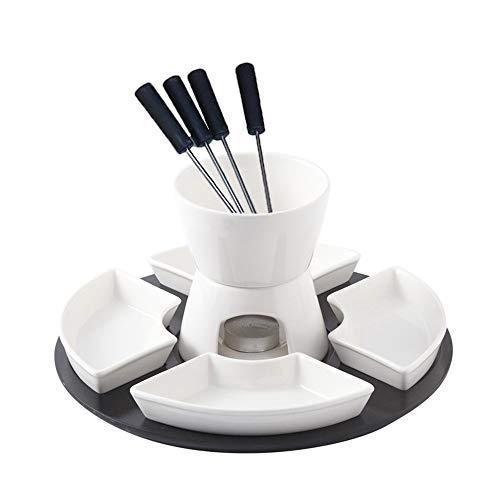 MDSQ Fondue-Set Keramik Weiß Porzellan Teelicht Käse Butter Schokoladen-Fondue-Set 300ml