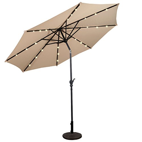 COSTWAY Ø300cm LED Sonnenschirm, Gartenschirm Marktschirm mit Solar-Beleuchtung, Terrassenschirm Achteck, Kurbelschirm Strandschirm Ampelschirm, Hängeschirm Farbwahl