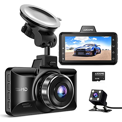 AZDOME Dual Dash Cam Front and Rear, 3 inch 2.5D IPS Screen Car...