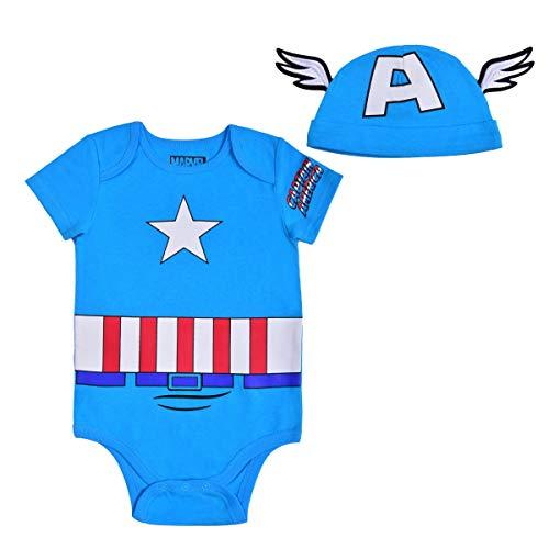 Avengers Short Sleeve Onesie with Cap, Captain America Bodysuit, Baby Costume Romper Set, Size 12M Blue