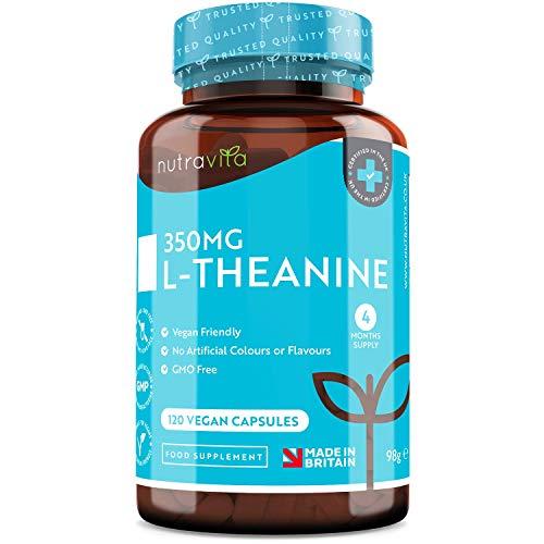 L-teanina 350mg - Cápsulas de L-teanina de alta potencia - 120 cápsulas veganas - Suministro para 4 meses - Producto elaborado en el Reino Unido por Nutravita