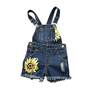 Baby & Toddler Girls Big Bibs Overalls Ripped Hole Summer Sunflowers Jumpsuit Boyfriend Jeans Denim Romper Shortalls